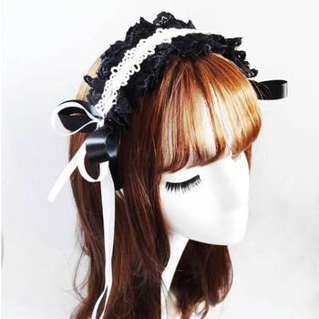 Gothic Lace Ribbon Headband Sweet Lolita Girls KC Vintage Hair Accessories For Women Hairband Headwear Bowknot Cosplay