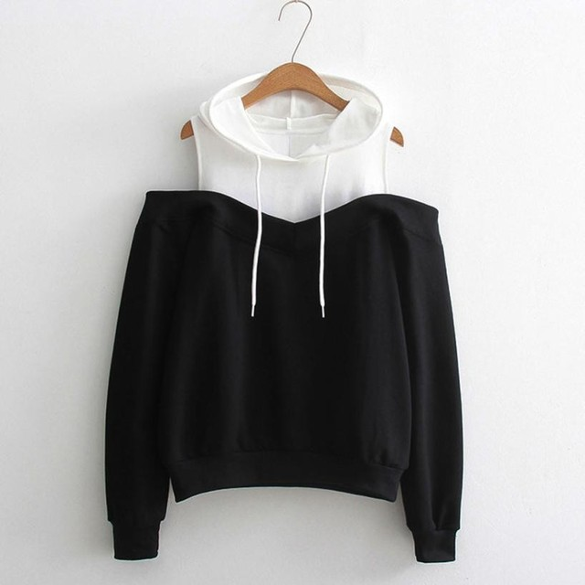 66e1fc09a63fd Stylish Hoodies Bts Patchwork Brand Womens Off Shoulder Long Sleeve Hoodie  Sweatshirt Hooded Pullover Tops Uptops Mujer  GHC