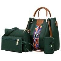4 шт./компл. женская сумка 2018 сумки-мессенджеры для дам модная сумка на плечо женская сумка из искусственной кожи повседневная женская сумка-...