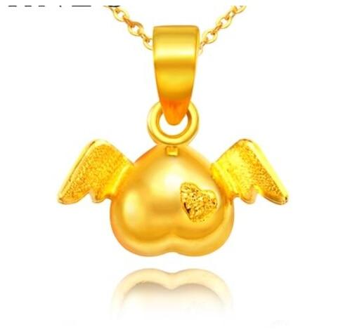 Authentic 24k Yellow Gold Pendant/ Men&Women Angel Heart Pendant/ 1.62g 14k enamel heart angel pendant jewelryweb