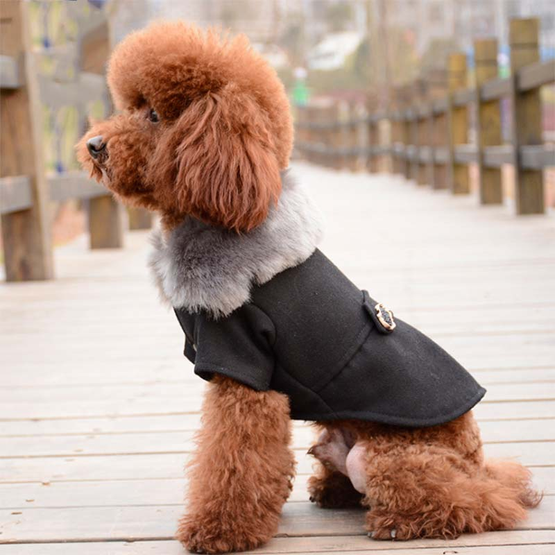 Winter Dog Clothes Pet Cat Jacket Coat Plush Warm Padded Puppy