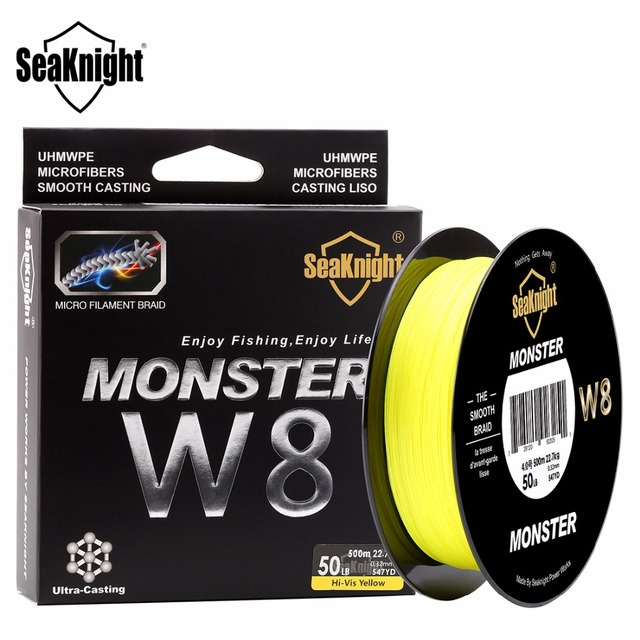 SeaKnight MONSTER W8 Braided Fishing Line 500M 8 Strands Wide Angle Tech Multifilament Braid PE Line Saltwater 15 20 30 50 100LB 1