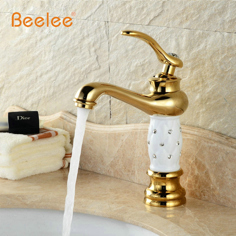 Basin Faucets Brass with Diamond Bathroom Faucet Gold Mixer Tap Single Handle Hot Cold Washbasin Tap torneiras banheiro BL2020 xoxo antique brass finishing basin faucets single hand hot and cold washbasin mixer tap torneira banheiro 83003g