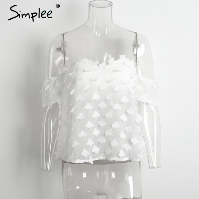 Simplee Tube off shoulder blouse shirt women tops Transparent white chiffon blouse Elastic summer blouse chemise femme blusas