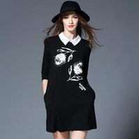 2017 Spring Clothes New Pattern European Will Code Suit Dress Fat Mm Thin Seven Part Sleeve