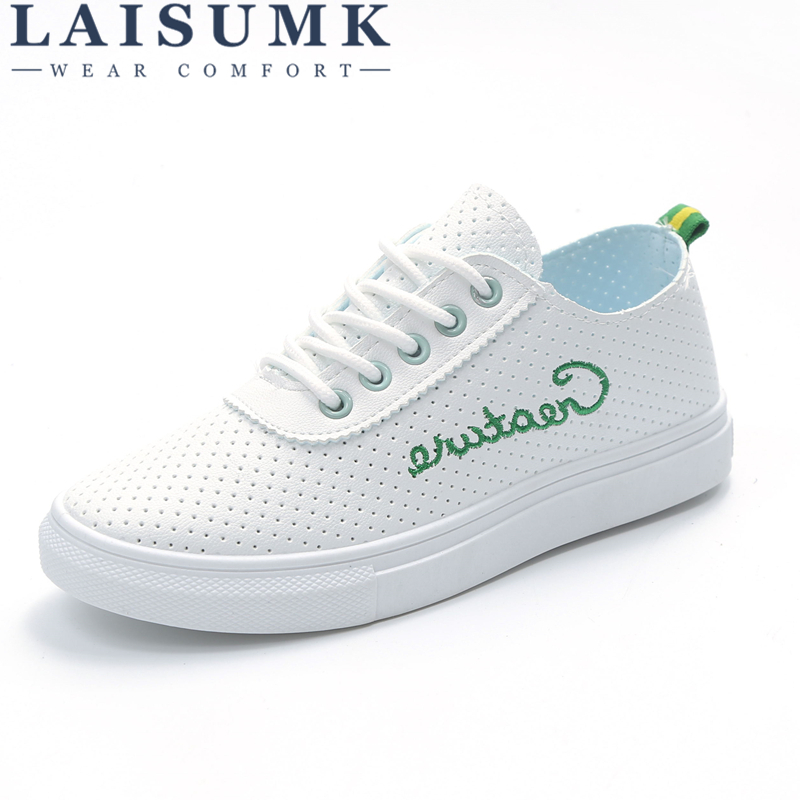 2018 LAISUMK New Fashion Leather Women Shoe Breathable Casual Shoes Woman Flat Shoes Zapatos Mujer 3 Colors Walking Sneakers