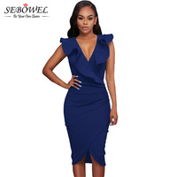 SEBOWEL Blue Deep V Neck Sexy Summer 2017 Bodycon Midi Dress Sleeveless Ruffles Short Party Dress