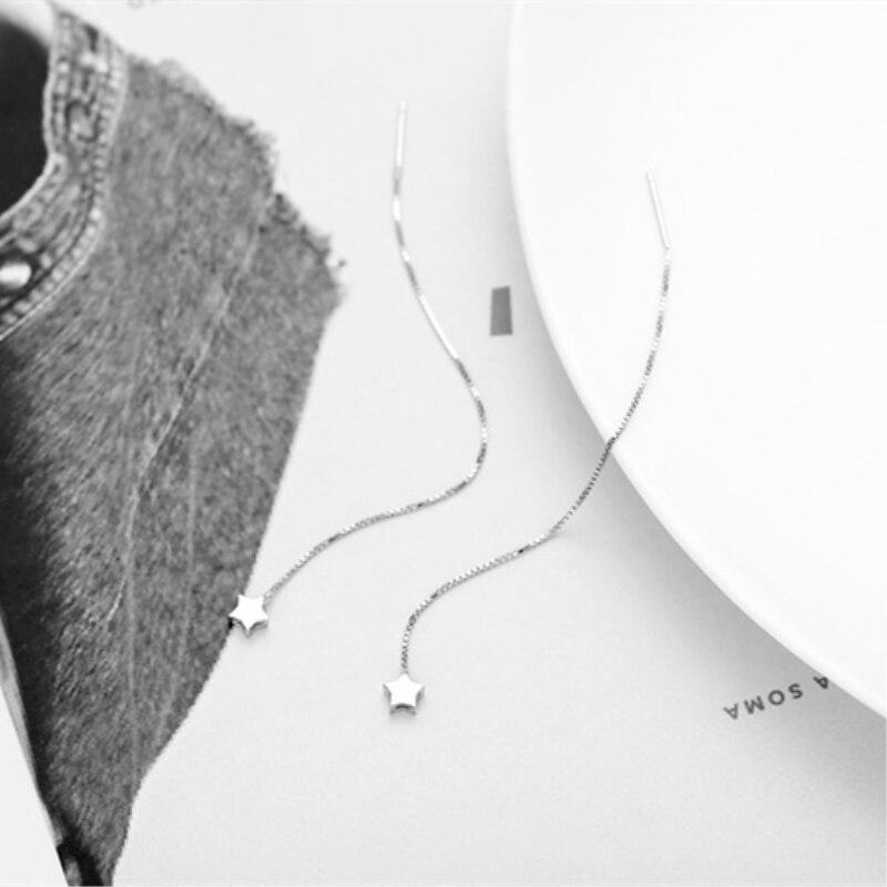 Провода уха Темперамент звезда длинный корейский гипоаллергенный 925 пробы серебро Личность Модные женские серьги SEA068