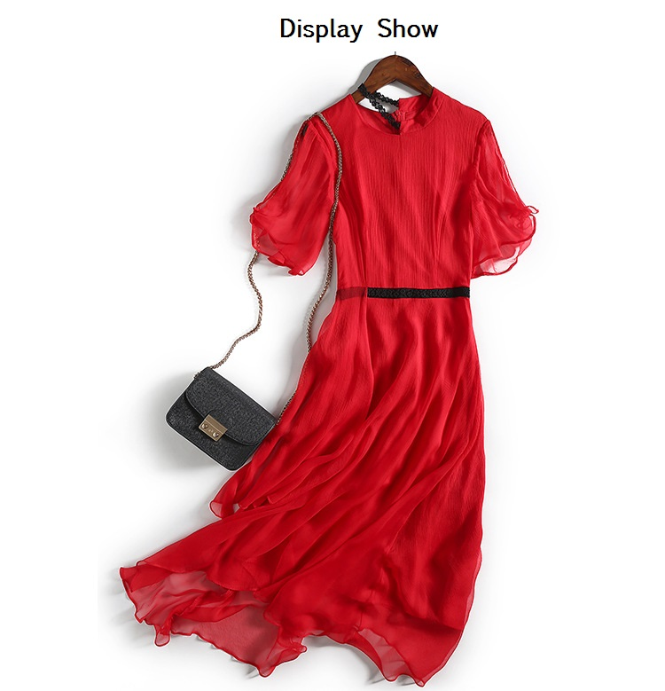 0565dccad7e3 High quality women red dress stand collare flare short sleeves casual dress  100% silk chiffon long dress fashion mid calf dress-in Dresses from Women's  ...