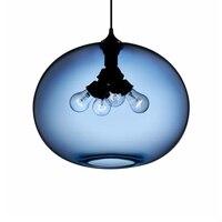 Loft moderno paese Americano Paralume In Vetro Lampade A Sospensione con 6 Colori E27/E26 LED lampade a sospensione per soggiorno camera da letto bar