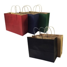 10 Pcs/lot 5 color Big Kraft Paper Bags With Handle Wedding Birthday Party Christmas New Year Shopping Package 32*25*11cm