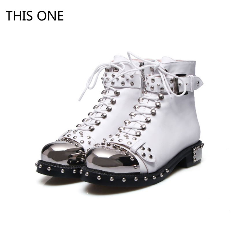 New Brand Genuine Leather Women Martin boots Rivets Buckle Thick Heel Black Ankle Boots Studded Decorated Motorcycle woman Boots 2018 new arrival genuine leather fashion boots thick heel winter shoe motorcycle boots rivets party runway women ankle boots l09