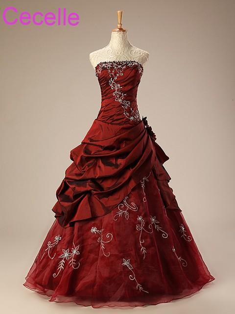 אדום הכהה אונליין שמלות הכלה וינטג רקמת טפטה שמלות כלה לבנה שמלות כלה מסורתיות עם צבע ללא ללא