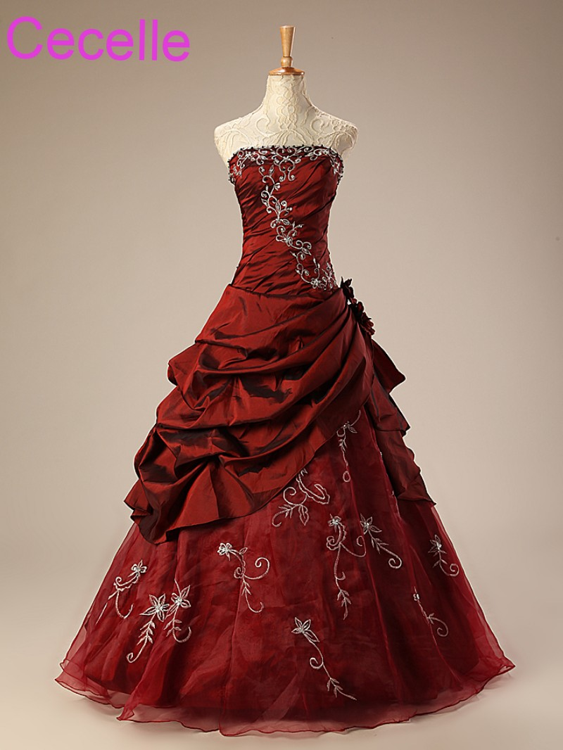 Non Traditional Wedding Dresses.Us 141 68 29 Off Dark Red A Line Wedding Dresses Vintage Embroidery Taffeta Non White Bridal Gowns Non Traditional Wedding Gowns With Color In