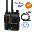 2 Pcs UV-8HX Baofeng Dupla Faixa de UHF 136-174/UHF 400-520 MHz Ham Two-Way rádio Walkie Talkie UV-5R + Programação Cable & Software CD