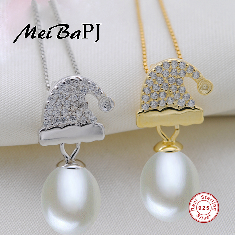 [MeiBaPJ]925 Sterling Silver Pearl Pendant Necklace Christmas hat Pendant Jewelry Charm Fine Accessaries for women