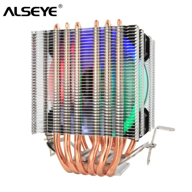 ALSEYE 6 tubos de calor enfriador de CPU Intel 115X1366X9 cm RGB de ventilador-Torre ventilador de la CPU de refrigeración