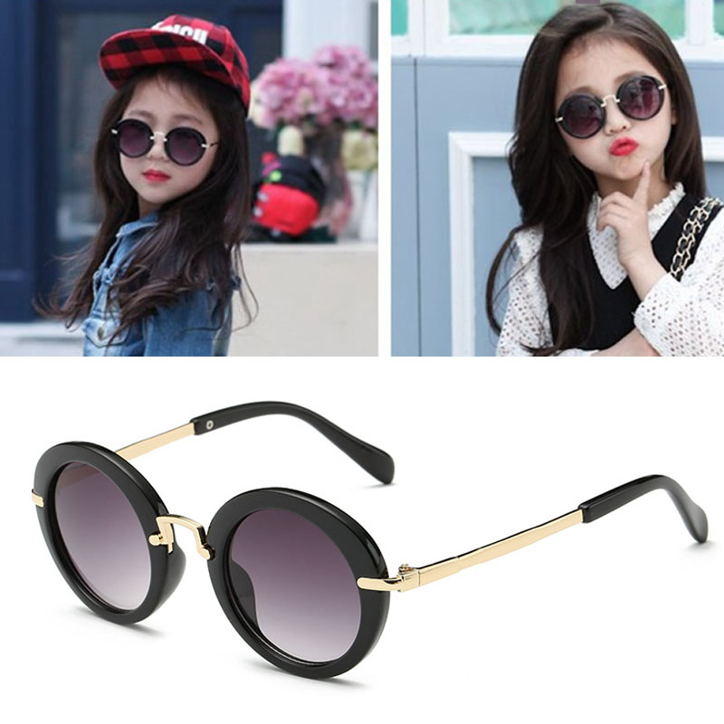 2017 Fashion Round Kids Sunglasses Children Sun Glasses Anti-uv Baby Vintage Eyeglasses Girl Cool UV400 oculos infantil de sol brand design grade sunglasses women mirror new vintage sun glasses for women female ladies sunglass oculos de sol feminino uv400