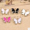 10PCs/Lot 10*13MM Gold Tone Enamel Alloy Charms Kawaii Animal Butterfly Shape Bracelet Necklace Earring Floating Charm Pendant
