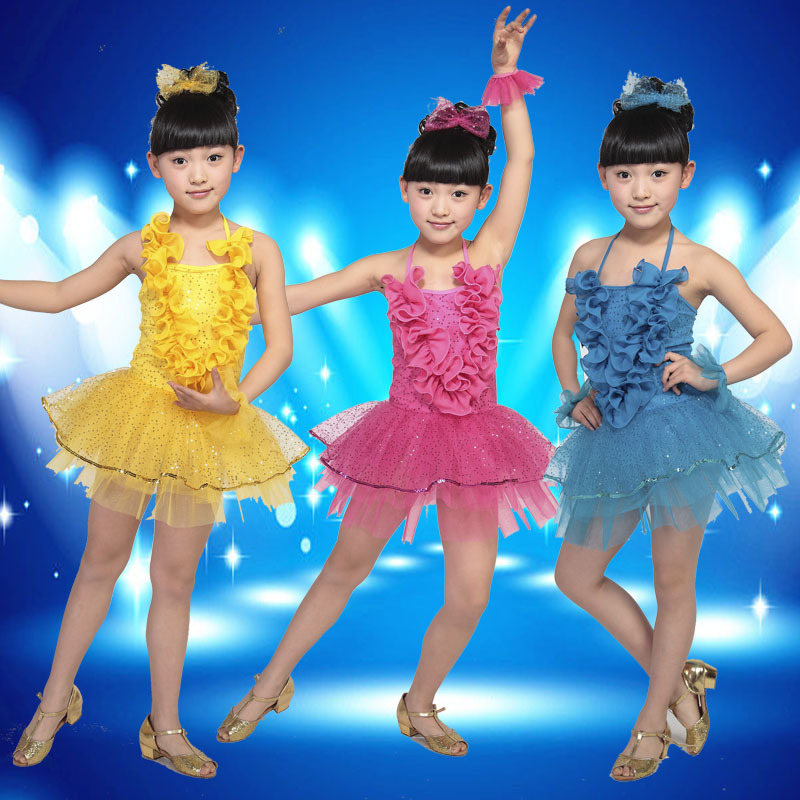 Free shipping New Modern Children Costumes Girl's Latin Dancing Clothes Kids Ballet Dresses Performance wear,XS,S,M,L
