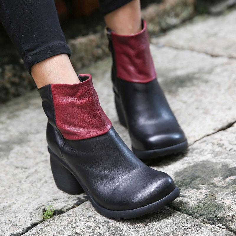 2018 VALLU Color mezclado botas de tobillo de mujer cuero genuino punta redonda cremallera lateral hecho a mano Retro señoras botas de tacón alto-in Botas hasta el tobillo from zapatos    1