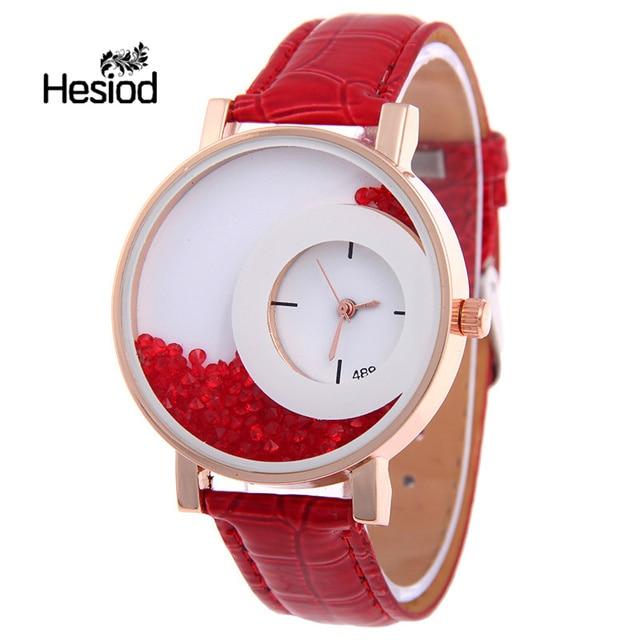 Nova Moda Pulseira de Couro Mulheres Rhinestone Relógios de Pulso Casual Mulheres Vestido Relógios Relogio feminino de Cristal Cor Sólida Quente