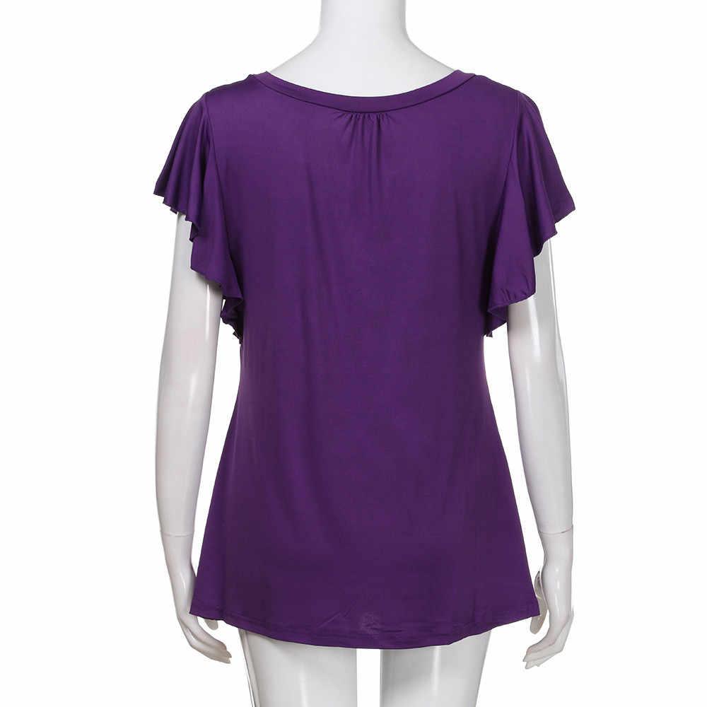 Off Shoulder Top odzież damska 2019 damska koszulka z krótkim rękawem O Neck plisowane bluzki Casual Flowy Tee Shirt tunika modiskimono cardigan