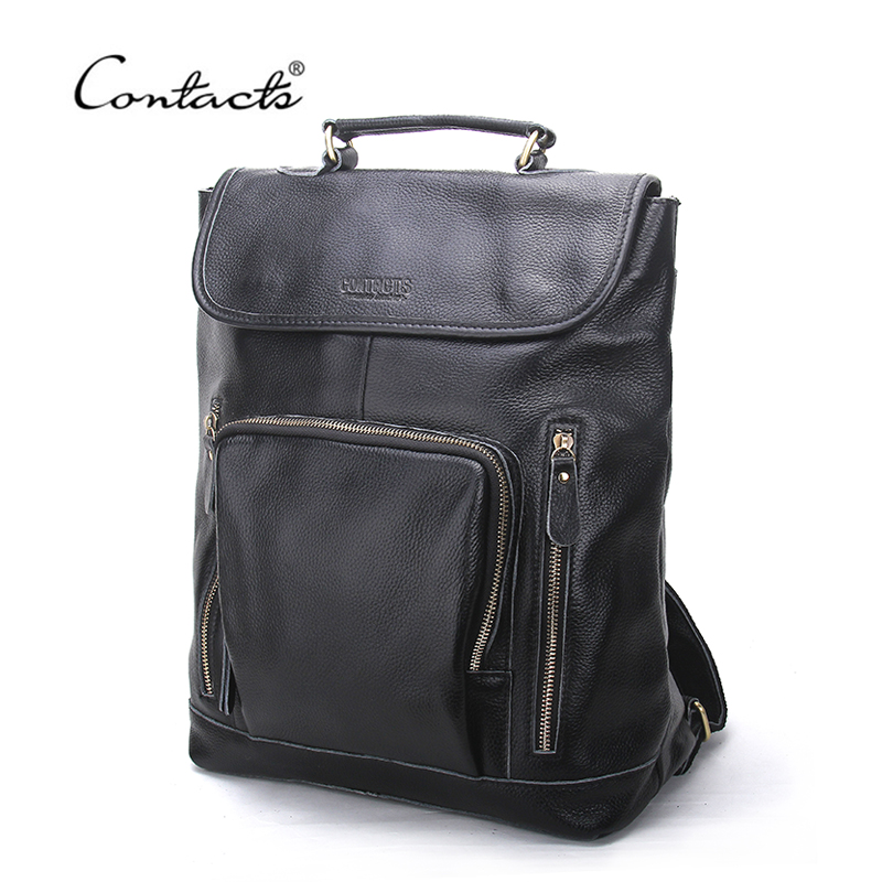 CONTACT'S Brand Genuine Leather 14inch Laptop Backpack Men B