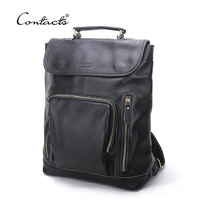 CONTACT S Brand Genuine Leather 14inch Laptop Backpack Men Backpacks For High Quality Backpack Bag Men