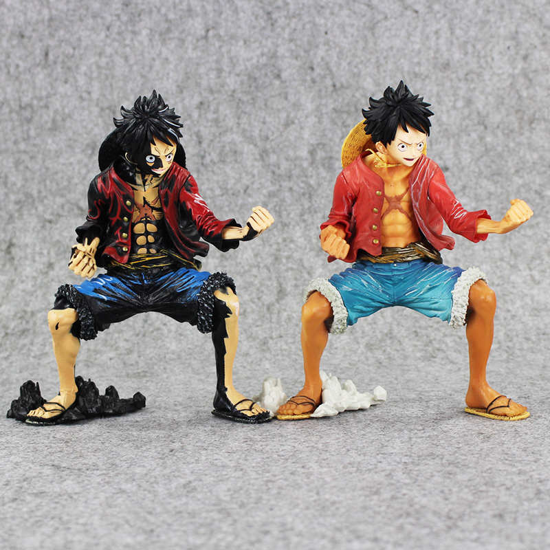 2Pcs/Lot Originl 20cm Luffy New PVC Action Anime Figures One piece black Monkey D Luffy Action Figure Toys Christmas Toy hot toys 10pcs lot generation 1 2 3 juguetes pvc minecraft toys micro world action figure set minecraft keychain anime figures