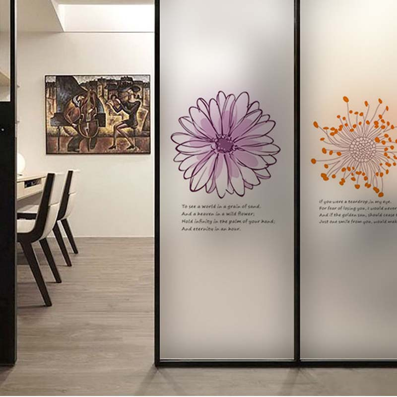 Flower wall sticker coffee shop transparent glass film for Door mural stickers
