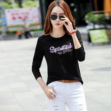 Shintimes Long Sleeve T Shirt With Sequins Letter T-Shirt Women 2018 Casual Slim Woman Tshirt Top Tee Femme Poleras Mujer