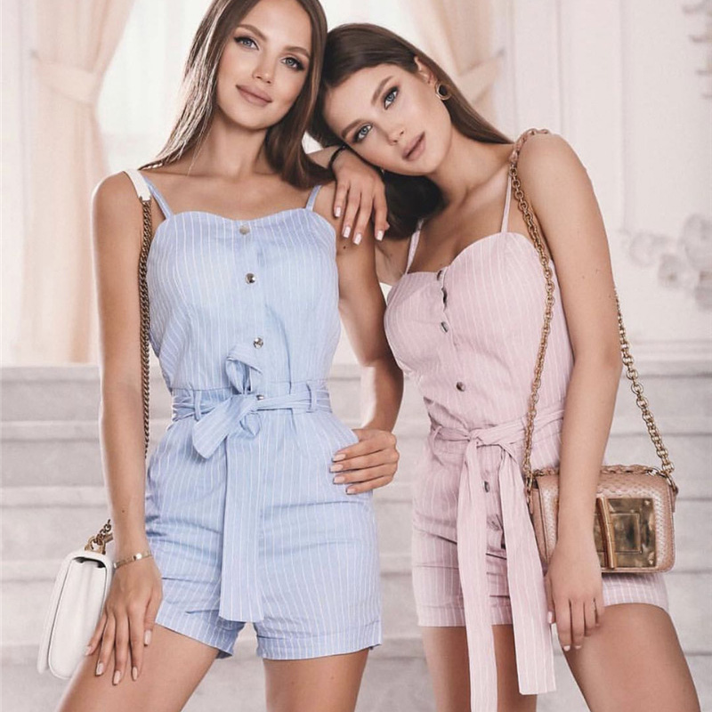 Liberal Women Playsuits 2019 Fashion Spaghetti Strap Jumpsuit Holiday Casual Ol Overalls Plasuits Buttons Striped Jumpsuits 40-42 To Have A Long Historical Standing