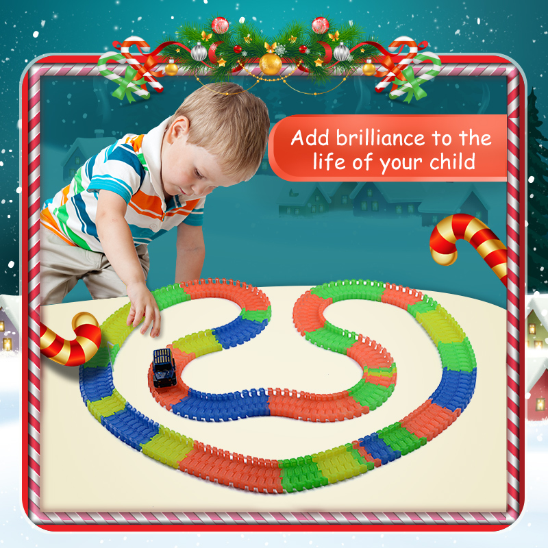 Miracle road magical racing tracks glowing flexible stunt race track luminous toys for boys children's railroad light with cars