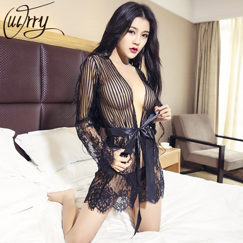 OUIRRY   Nightgowns     Sleepshirts   2017 Lace Home Dress Sexy Nightwear Women Sleepwear Solid Sleep & Lounge Vintage   Nightgown   Female