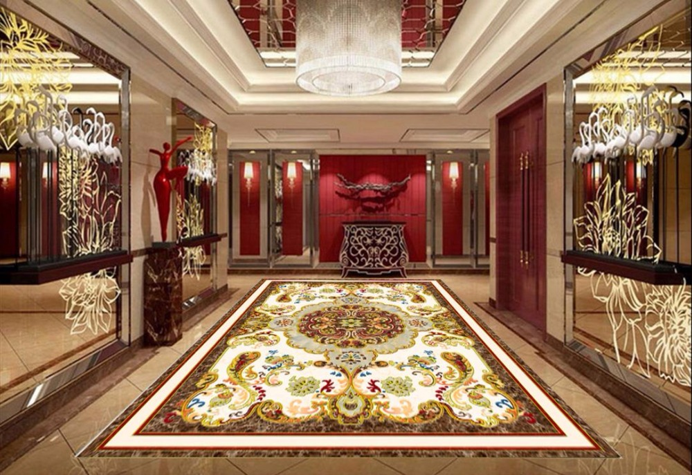 Decorative Paintings 3D Floor Tiles Wallpaper For Walls roll 3D Floor Painting Vinyl Bathroom Wall Murals For Living room  beibehang wallpaper custom home decorative backgrounds powerful bear paintings living room office hotel mural 3d floor painting