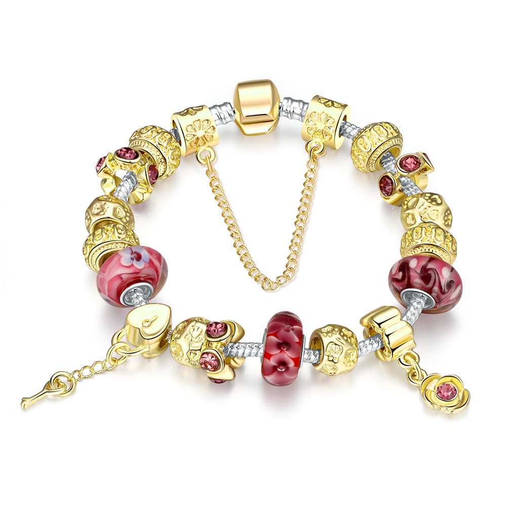 Gold Charm Bracelets: QIMING Key Heart Irish Style Red Flower Murano Glass Bead