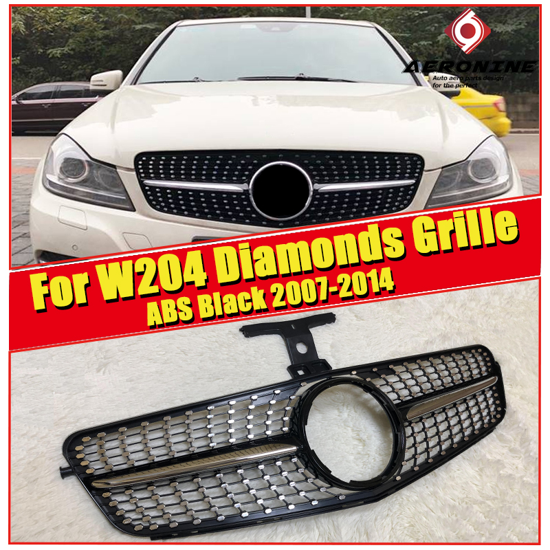 Fits For MercedesMB W204 black Chrome Sport Front grill Grille C class C180 C200 C250 C63 Look Without Sign 07-14