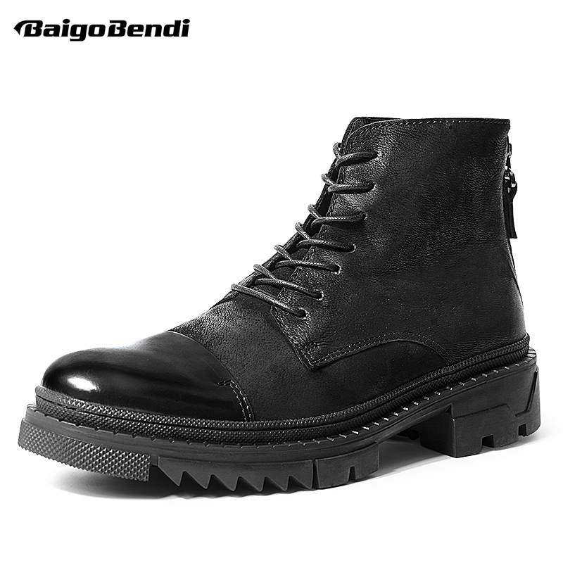 Men Thick Heel Boots Soliders Lace Up Genuine Leather Ankle Boots Work And Safety Winter Boots Pure BlackMen Thick Heel Boots Soliders Lace Up Genuine Leather Ankle Boots Work And Safety Winter Boots Pure Black