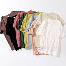 High Quality Women V-Neck Solid Short Sleeve Loose T-Shirt Tops 9 Colors Basic T-shirts Female Casual