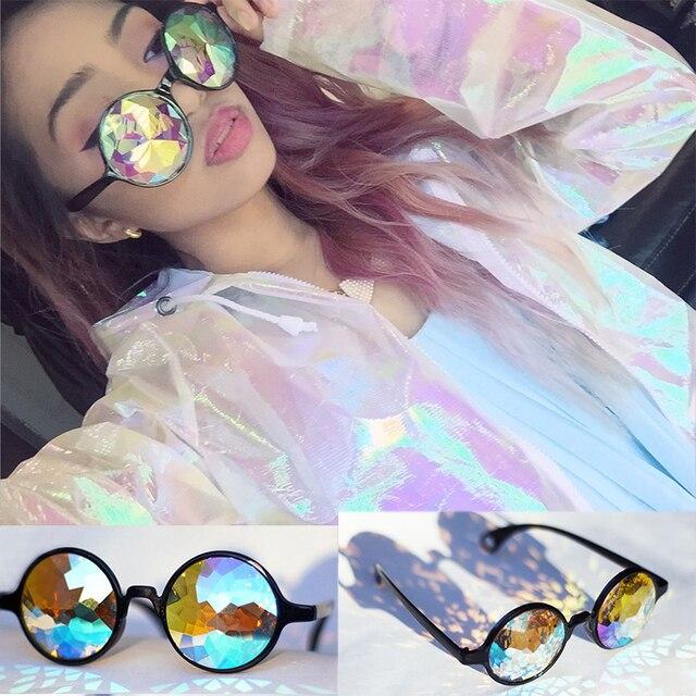 df1f88b4b73 Drop Shipping Holographic sunglass Retro Round Uniron Sunglasses Women  Designer Eyewear Kaleidoscope lens Glasses oculos de