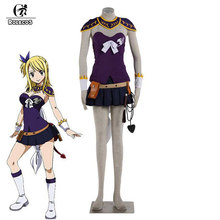 ROLECOS Anime Fairy Tail Cosplay Kostuum Lucy Heartfilia Cosplay Kostuum Vrouwen Sexy Pak Lucy Paarse Jurk Fancy Kostuum(China)