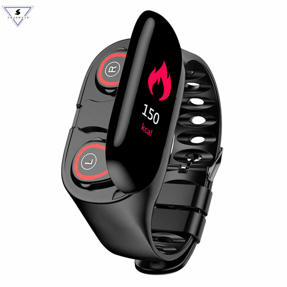 M1 Bluetooth Fitness Bracelet With Tws Headphone Heart Rate Monitor Stereo Earbud Headset Fitness Heart Rate Monitor Wristband