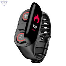 M1 Bluetooth Fitness Bracelet With Tws Headphone Heart Rate Monitor Stereo Earbud Headset Wristband