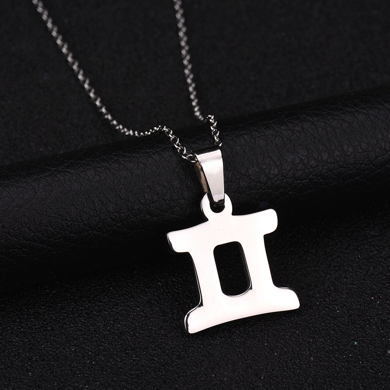 Charm Jewelry Never Fade Stainless Steel 3 Colors Zodiac Sign Pendant Necklace Gemini Name Necklace For Birthday Gift Bijoux