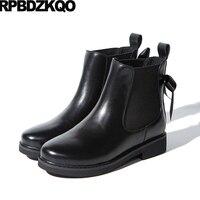 סתיו חורף מגפי נשים מותג נעלי עור אמיתיות נעלי פלטפורמת קשת שטוח שחור צ 'לסי סתיו חדש תלוש קרסול יוקרה