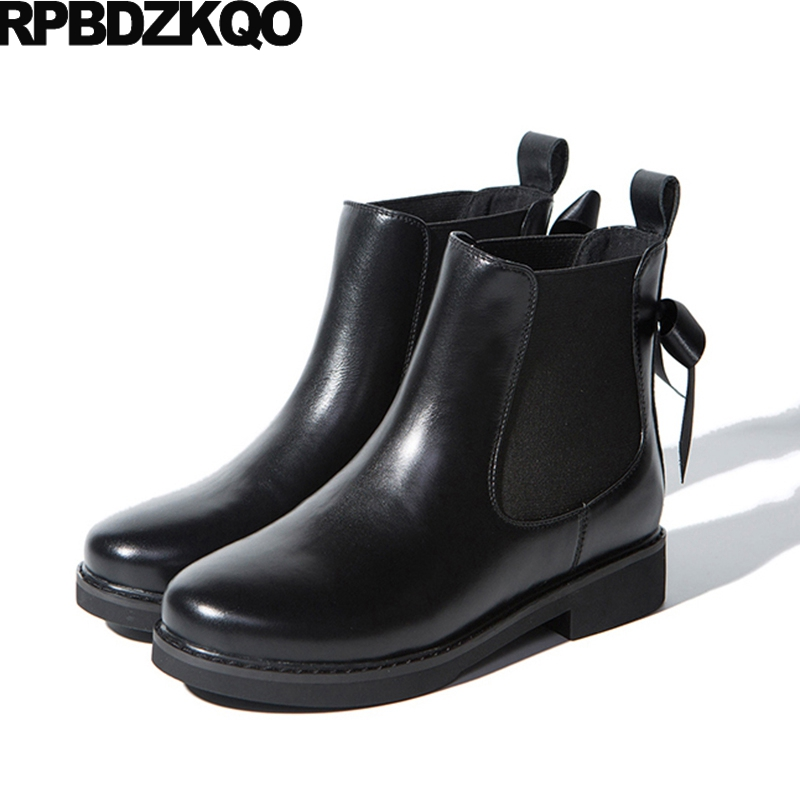 Autumn Brand Women Winter Boots Genuine Leather Booties Shoes New Black Flat Bow Platform Chelsea Fall Ankle Slip On Luxury farvarwo formal retro buckle chelsea boots mens genuine leather flat round toe ankle slip on boot black kanye west winter shoes