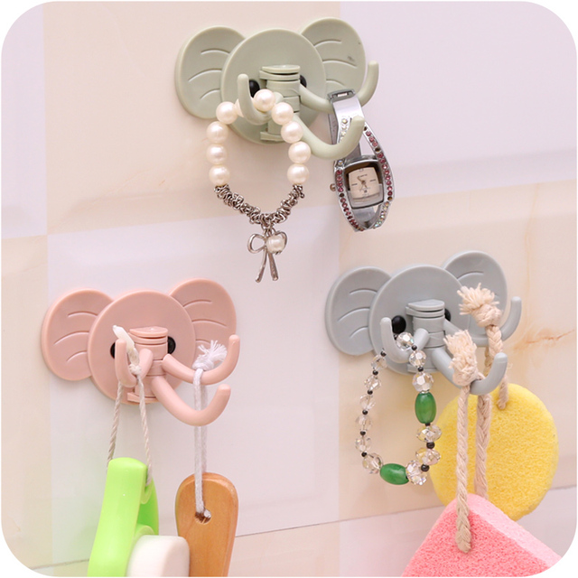 3pcs Cute cartoon elephant shape wall hook Self Adhesive sticky hooks  organizer for coat tower clothes