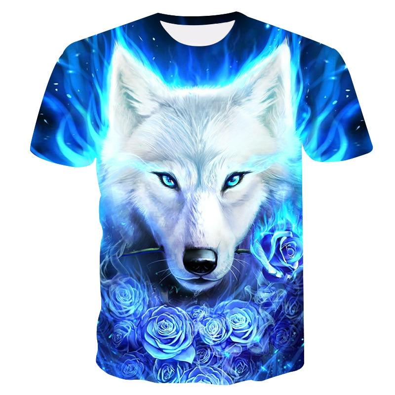 2019 Summer Kids 3D   T     shirt   Animal Wolf Head Blue Rose Lightning Fashion Children   T  -  shirt   Big Boy Girl Fashion Clothing Tee Tops