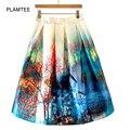 Venta caliente Nuevo Satén Plisado Faldas Ladies Una Línea de Moda Impreso Saia Plissada Harajuku Cremallera Elegante Falda Femenina Faldas